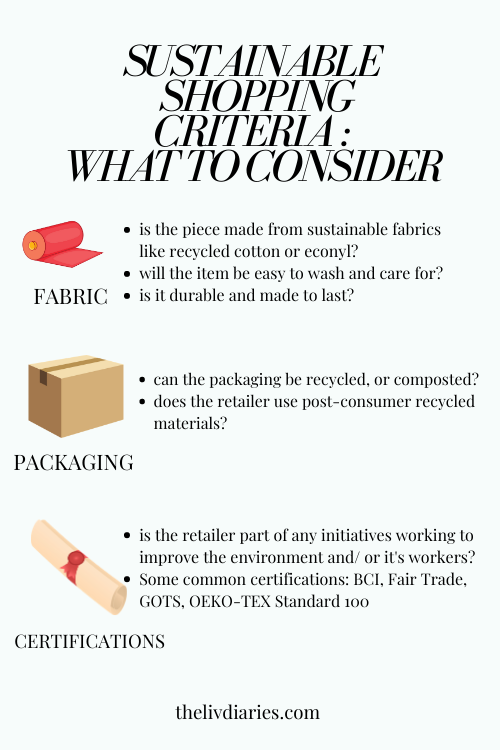 sustainable clothes shopping criteria